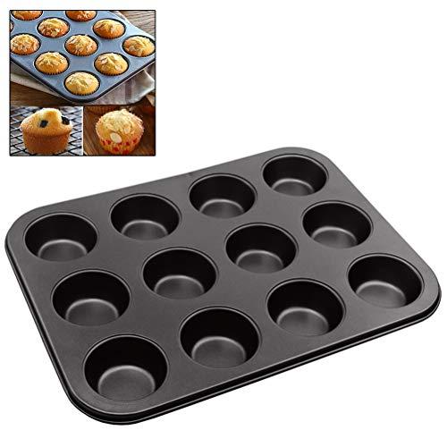 Jourbon Antihaft Backblech Für Muffins 12Cup Apfelküchli Backblech Wiederverwendbare Muffin Backform Und Cupcakeform, Kuchenform Rund