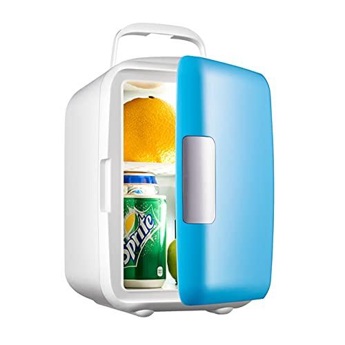 Mini Neveras Refrigerador De Coche 4L Con Función Refrigeración Y Calefacción Fridge De 3 ° C A 65 ° C 12V / 220V Para Cuidado De La Piel, Oficina, Dormitorio, Coche Pequeño Congelador, 27Db,Azul