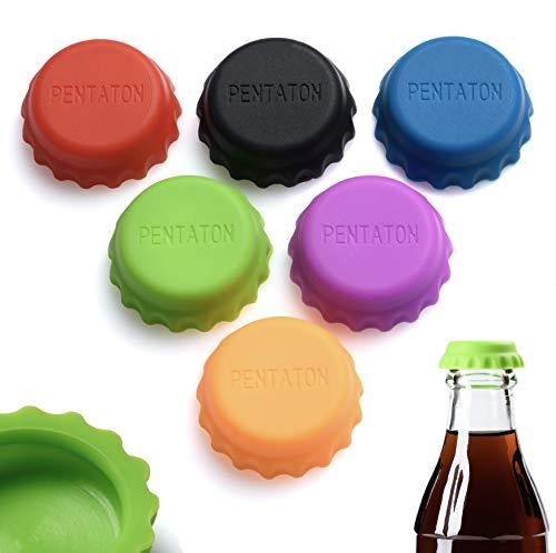 Pentaton Flaschenverschluss, Silikon Kronkorken, Flaschenmarkierer, Wiederverwendbarer Bierverschluss (12er Pack)