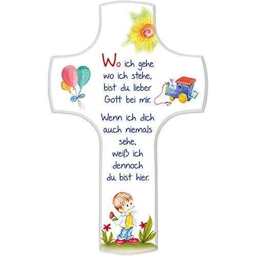 Fritz Cox® - Kinderkreuz 'Wo ich gehe wo ich stehe' - Geburtsgeschenk oder Taufgeschenk für Jungen