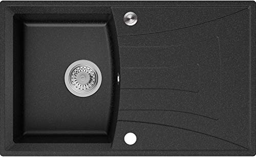 Granitspüle Graphit 77 x 47 cm, Spülbecken + Siphon Pop-Up, Küchenspüle ab 45er Unterschrank, Einbauspüle Valencia von Primagran
