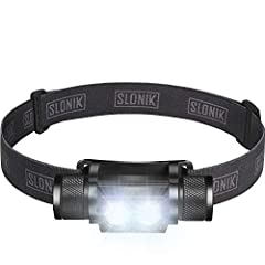 SUPER BRIGHT AND POWERFUL HEADLAMP: the upgraded Slonik 2nd gen is a 1000-lumen rechargeable headlight capable of reflecting a 600ft. beam without any problem. It is compact and lightweight - only 4.19oz with battery included. LONG BATTERY LIFE AND R...