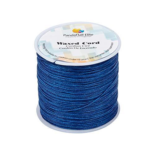 PandaHall Elite - Bobina de hilo de algodón encerado redondo para bisutería y suministros de macramé, azul, 106m/roll 0.5mm