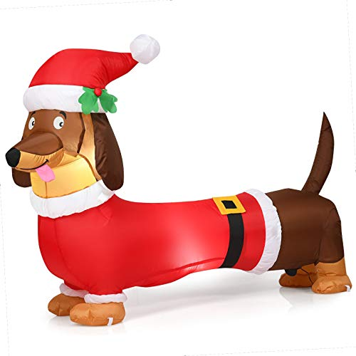 Frolic Racсoon 5ft Wiener Dog Christmas Inflatable Dog Xmas Yard Decor Dachshund Blow Up Christmas Decorations Outdoor Led Light Holiday Inflatables Outdoor/Indoor Decoration