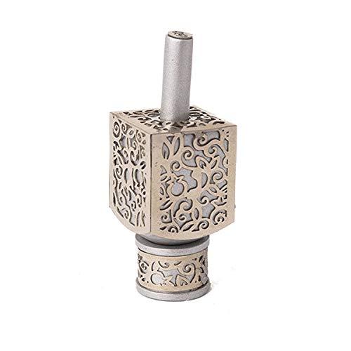 Yair Emanuel Decorative Dreidel with Stand | Pomegranates Cutout Design | Hanukkah Gift Jewish Decorations (Silver, Small)