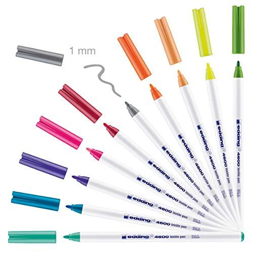 edding 4600 Textil-Stift - 10er Set - Fun Farben - Rundspitze 1 mm - Zum Bemalen von Textilien (wie z.B. T-Shirt, Kissen, Beutel) - Textilfarbe waschmaschinenfest bis 60°C