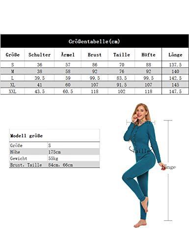 UNibelle Damen Hausanzug Onesie Thermowäsche mit Knopfleiste Nachtwäsche Schlafanzug Navy Blau - 7