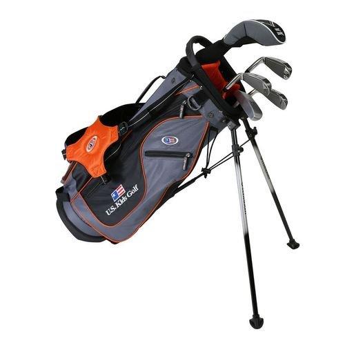 USKids 2017 Golf Ultra Light, Set mit 5 Golfschlägern und Tasche mit Stand (129,5 cm hoch), Kinder, 19560, grau/orange