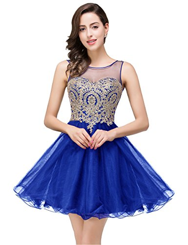 MisShow Sparkling Crystals Applique Royal Blue Short Prom Dress,362 royal Blue,2