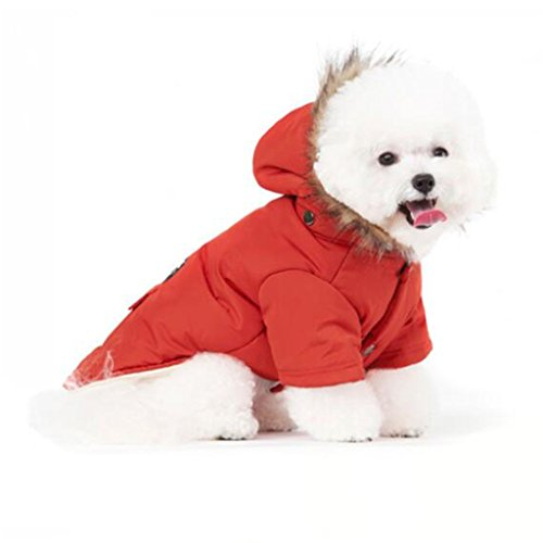 PetBoBo Cat Dog Doggie Down Jacket Hoodie Coat Pet Clothes Warm Clothing for Small Dogs Winter Red L