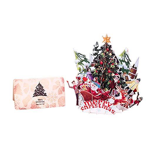 HUIHU Tarjetas 3D Up Feliz Navidad Papel de Origami Postales Cortadas con láser Tarjetas de felicitación de Regalo Árbol de Navidad Colorido en Blanco Hecho a Mano, Multicolor