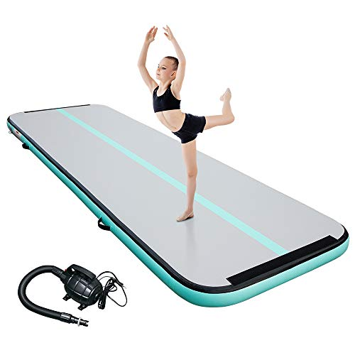 CANWAY Air Tumble Track Inflatable Gymnastics Mat, 10ft/13ft/16ft/20ft Gymnastics Training Mat with Electric Air Pump for Home/Outdoor/Gym/Cheerleading/Yoga