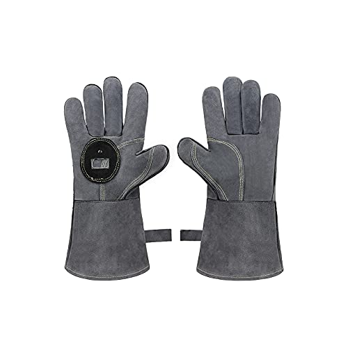 LaKua 1 Pair Heat Resistant Cowhide Gloves Anti-scalding Baking Gloves BBQ Gloves for Kitchen Baking Microwave