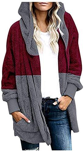 Sunjiaxingzd Chaqueta informal de invierno para mujer, cálida, de gran tamaño, con bolsillos delanteros abiertos, con capucha, para mujer (color: vino, talla: pequeño)
