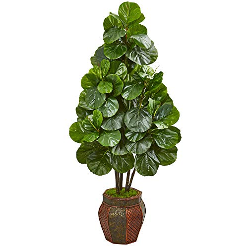 Nearly Natural 5-Ft. Fiddle Leaf Fig Artificial Decorative Planter Silk Trees Green
