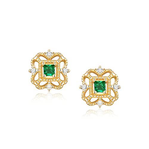 Pendientes de plata S925 cuadrados de circonita cúbica verde estilo palacio vintage, pendientes de temperamento simples para esposa, novia, regalo del día de San Valentín o regalo de cumpleaños