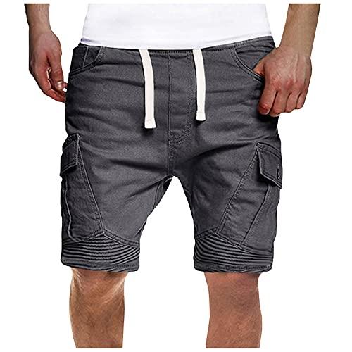 Beudylihy Cargoshorts voor heren, bermuda, korte broek, regular fit, sportbroek voor heren, korte sportbroek met zakken en ritssluiting, grijs, XXL