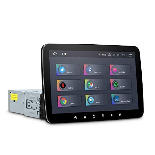 [PX6 + Qualcomm Bluetooth] Navigazione GPS 1DIN per autoradio Android 10 con touch screen rimovibile da 10,1 pollici, Android Auto / CarAutoPlay, Supporta WiFi DAB + OBD2 Mirrorlink Uscita HDMI 4 GB