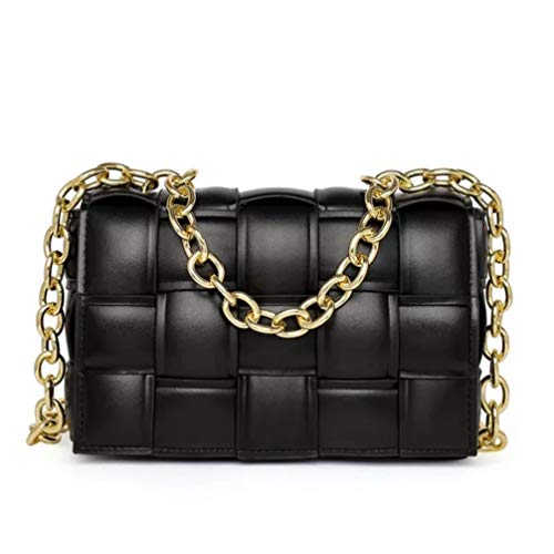Borsa donna con intreccio, in ecopelle di qualità - Novità fashion 2021 (Nero con catena oro)