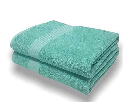 Sasma Home - 2 x sábanas de baño Jumbo (90x150cm) - 500GSM 100% algodón de fibra natural altamente absorbente - Juego de sábanas de baño grande de secado rápido (Huevo de pato)