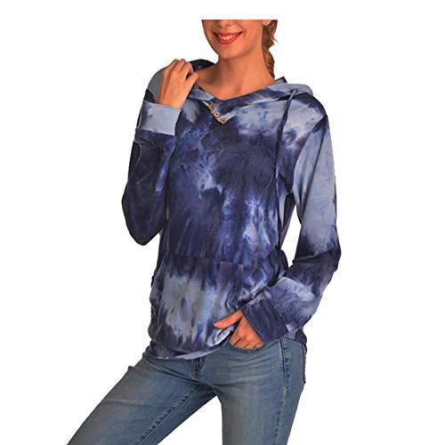 Jorlyen Women Casual Hoodie Pullover Sweatshirt with Kangaroo Pocket Tie Dye Adjustable Drawstring Cotton Hoodies Long Sleeve Colorblock Pullover Top Shirts-XL Blue