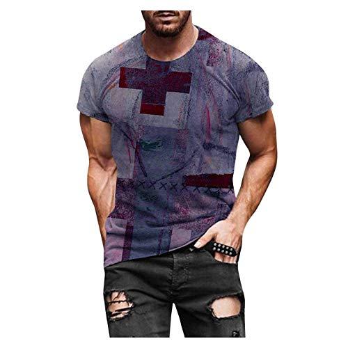 T-Shirt Top Bluse Männer Frühling Sommer Casual Slim 3D gedruckt Kurzarm (XXL,5Wein)