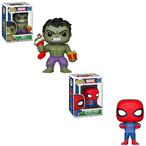 Funko POP! Marvel: Hulk and Stocking and Spider-Man in Ugly Christmas Sweater Bobble-Head Toy Action Figures - 2 POP Bundle image