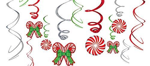 Candy Cane 12 Piece Hanging Swirls