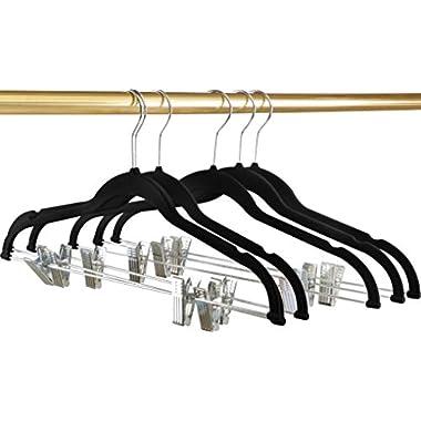 Premium Velvet Hangers (Pack of 12) - Heavy Duty - Non Slip - Velvet Suit Hangers with Clips For Pants or Skirt Hanger - by Utopia Home (Black)