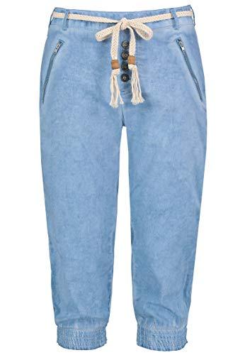 Sublevel Damen Baumwoll Capri Stoff-Hose mit Bindegürtel Light-Blue M