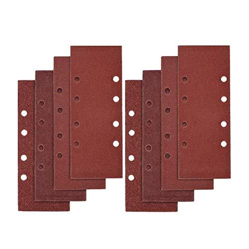 Yuhtech 40 Stück Schleifblätter, 93 x 185 mm, gelocht, 8 Löcher, sortiert P40, P60, P80, P100, Schleifpapier für Holz, Metall, Haken und Schlaufen für Schwingschleifer