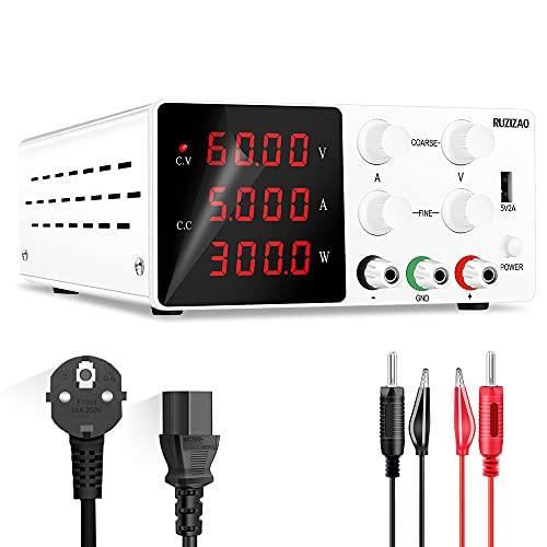 RUZIZAO Labornetzgerät Regelbar Labornetzteil 60V 5A Variablen Schaltnetzteil Geregeltes Hochpräzises 4-stelliges LED-Display 5V/2A USB-Anschluss Labor DC-Stromversorgungen