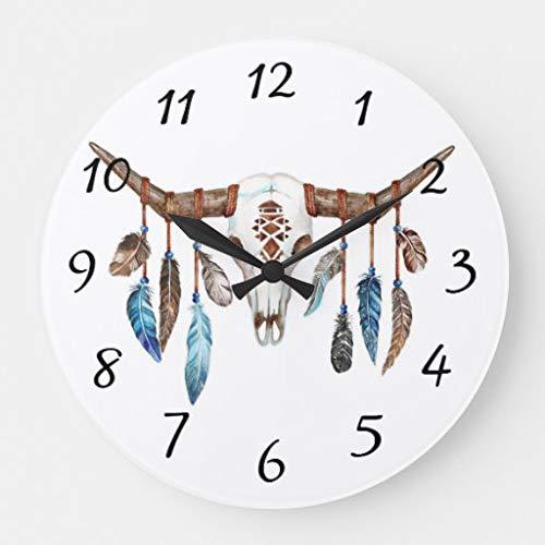 Scott397House Reloj de Pared para decoración de Sala de Estar, Redondo, silencioso, de Madera, Funciona con Pilas, para Dormitorio, Oficina, 30 cm, Pintura de Calavera de Toro Americana nativa Grande