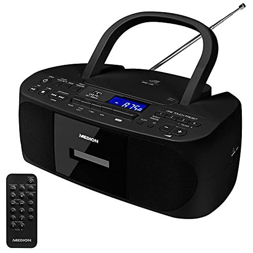 MEDION E65010 Stereoradio (CD-Player, Kassette, USB Anschluss, AUX Audioeingang, MP3-Widergabe. UKW PLL Radio,40 Senderspeicher, Batteriebetrieb, Fernbedienung) schwarz