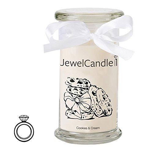 JewelCandle Cookies & Cream - Candela in Vetro con Un Gioiello - Candela profumata Bianca con Una Sorpresa in Regalo per Te (Anello in Argento, Tempo di combustione: 90-125 Ore)(M)