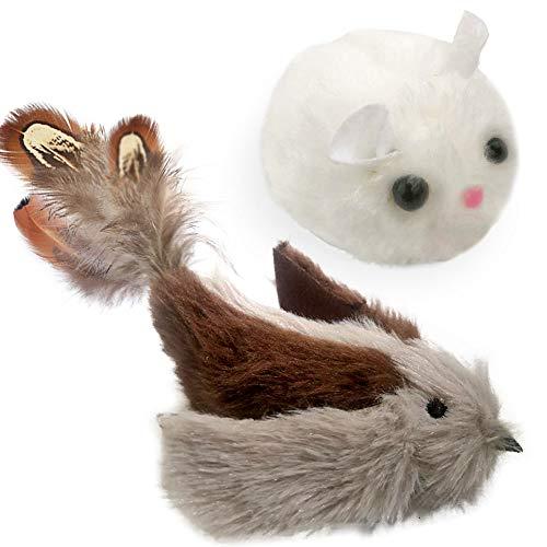 KTL Katzenspielzeug, Katzenspielzeug Vogel, Katzen Plüschspielzeug, aus flauschigem Plüsch, Interaktives Katzenspielzeug (Maus und Vogel)