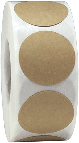 Braune Natürlichem Kraftpapier Kreis-Aufkleber, 25 mm 1 Zoll Punktetiketten 500 Packung