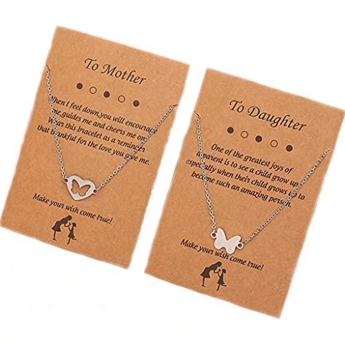 Branets Collar con colgante de corazón de mariposa de plata, 2 collares entrelazados, regalos para mujeres y niñas (2 piezas)