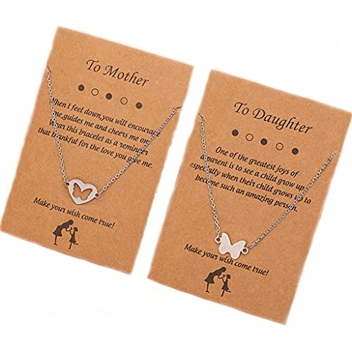 Branets Collar con colgante de corazón de mariposa de plata, 2 collares entrelazados, regalos para...