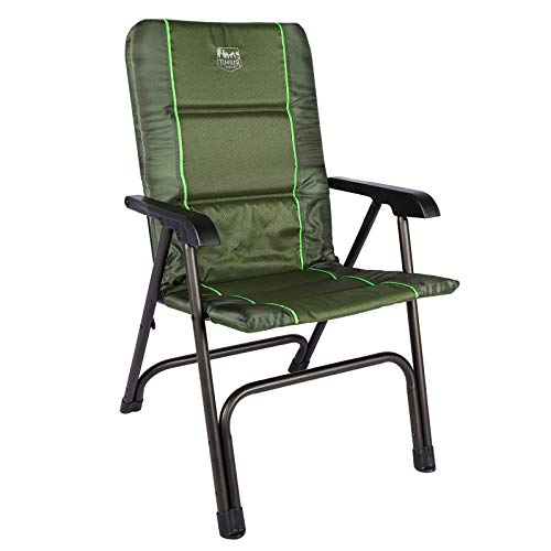 TIMBER RIDGE Portable Full Padded Camping Folding Chair for Outdoor with Carry Bag and High Back Lightweight Aluminum FrameSupports up to 300lbsGreen