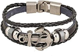Navy sailboat anchor bracelet,Three beads retro leather bracelet for men