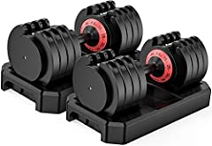 Famistar 5-Levels 6.6 to 44 lbs Adjustable Dumbbells - Speedy Handle-Twist with Anti-Slip Handle for Full Body Workout Home Gym Men/Women (Set of 2)