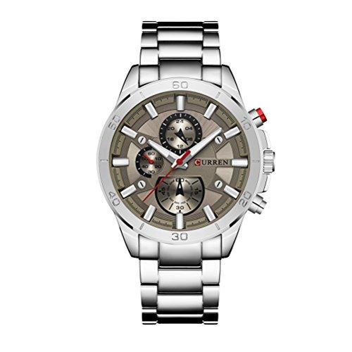 CURREN 8275 Orologio da polso sportivo casuale degli orologi d'acciaio dell'acciaio inossidabile