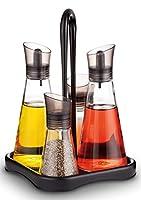 a|m|i|n|a menage set aceto e olio, 5 pezzi | 2 x 250 ml bottiglia olio + 2 x 80 ml saliera e pepiera e sottobicchiere