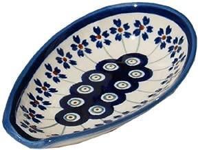 Polish Pottery Spoon Rest From Zaklady Ceramiczne Boleslawiec #1015-166a Floral Peacock Traditional Pattern