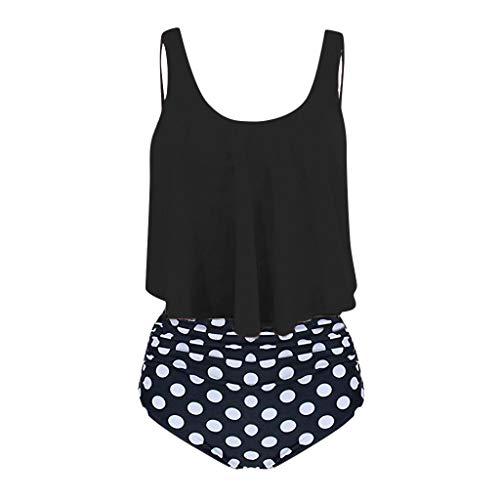 Pottseth Swim Suites Womens Bikini Womens High Waisted Swimsuit Ruffled Top Tummy Control Bathing Suits
