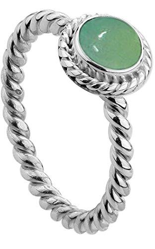 Nenalina Damen Ring Silberring besetzt mit 6 mm grünem Achat Edelstein, handgearbeitet aus 925 Sterling Silber, Gr. 58-212999-097-58