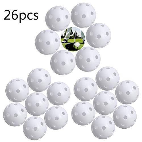 BETOY X 26 Stück Air Flow Golf Trainingsbälle, Übungsbälle Golfbälle zum Üben und Trainieren, Golfübungen, Distanzbälle mit Loch-Luftfluss, bunt, perforierte Kunststoffbälle für Schaukelübungen (weiß)