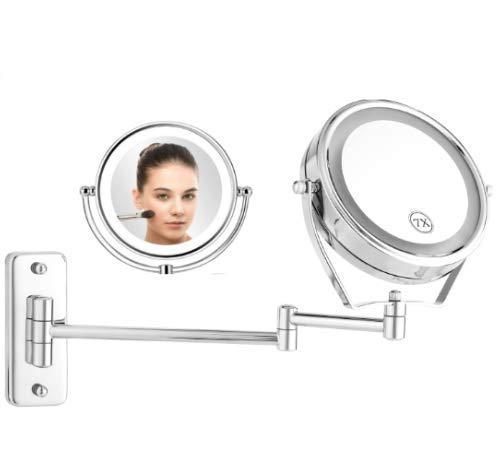 Doppelseitiger Kosmetikspiegel zur Wandmontage 360°Drehbarer Schminkspiegel mit LED Beleuchtung und 7xFach- Vergrößerungsspiegel Badezimmer Klappbarer Makeup-Spiegel zum Rasieren und Schminken (1x:7x)