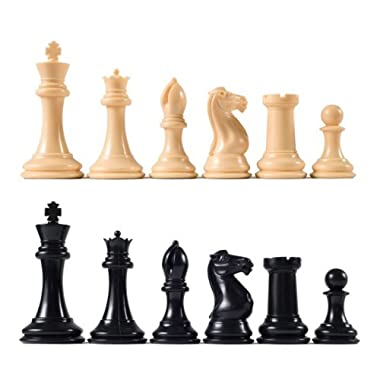 Premier Tournament Chess Pieces with 4 1/8  King - Natural and Black